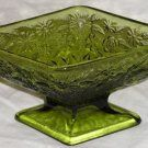 Indiana Glass Pineapple & Floral Compote Pedestal Base Dish Avocado Green #618