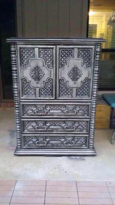 Vintage ornate armoire. Painted in Krylon Silver and Valspar black glaze.