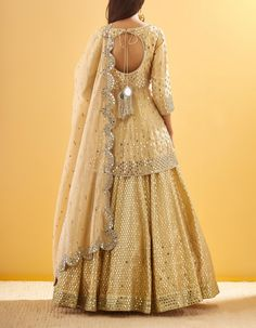 Golden Sequin and Mirror Embroidered Peplum Set Sharara Designs, Choli Designs, Kurti Designs Party Wear, Lehenga Designs, Designer Party Wear Dresses, Indian Designer Outfits, Indian Gowns Dresses, Pakistani Dresses, Indian Attire