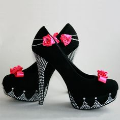 Rhinestone high heels with skull charm and hot pink by PinkoMinko, $130.00