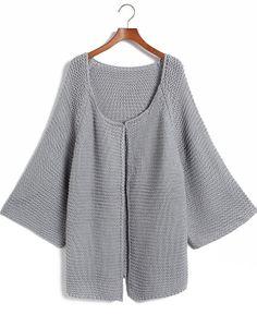 Grey Long Sleeve Cardigan Loose Kint Sweater - Sheinside.com