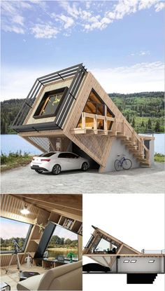 Container House Plans, Container House Design, Unique House Design, Tiny House Design, Casas Containers, Model House Plan, Modern Architecture Design, House In The Woods, Exterior Design