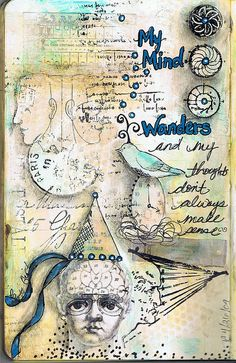Nice elements in this Moleskine Journal Page by Pam Carriker