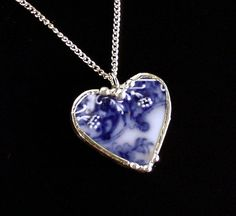 spanky and jones broken china | Broken china jewelry Antique flow blue heart shaped necklace pendant