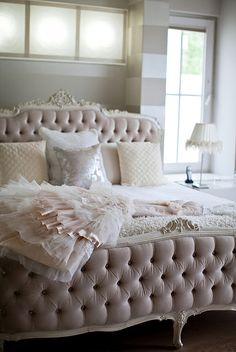 Pale pastel tufted headboard via my chic my way