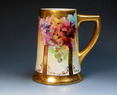 Julius Brauer Hand Painted Mug With Grapes, PL Limoges (ca 1910), Limoges Tankard, Stein, Belleek Mug, Rosenthal Mug, Belleek Tankard