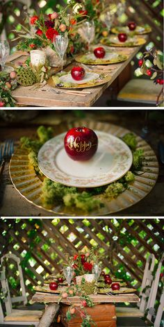 A Truly Enchanting Snow White Themed Styled Shoot - Party Snow White Wedding, Forest Wedding, Dream Wedding, Snow White Birthday, Wedding Themes, Disney Wedding Centerpieces, Themed Weddings, Wedding Ideas, Wedding Table