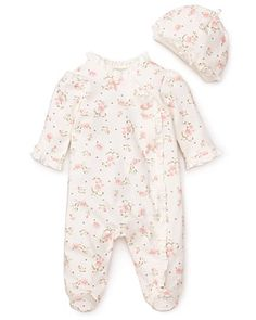 Little Me Infant Girls' Vintage Rose Footie & Cap - Sizes 3-9 Months | Bloomingdale's