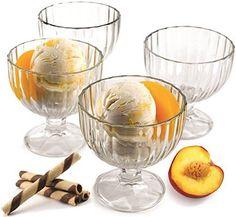 Palais Glassware 'Crème Glacée' High Quality, Clear Glass, Ice Cream Dessert Bowls - Set of 4 - 9 Oz. Best Ice Cream Maker, Simile, Dessert Bowls, Dessert Dishes, Ice Cream Desserts, Easy Desserts, Elegant Appetizers, Hostess Gifts, Bowl Set