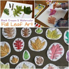 Gorgeous Black Crayon and Watercolor Fall Leaf Art - Frugal Fun For Boys and Girls Autumn Art, Autumn Theme, Autumn Leaves, Fall Art Projects, School Art Projects, School Ideas, Kids Watercolor, Watercolor Leaves, Watercolour Painting