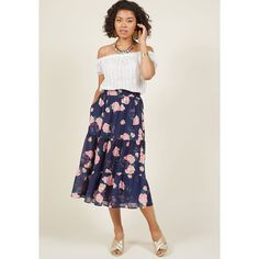 Tiered Floral Midi Skirt (€70) ❤ liked on Polyvore featuring skirts, a-line skirt, apparel, bottoms, varies, chiffon midi skirt, navy blue skirts, floral a line skirt, knee length a line skirt and pink floral skirt