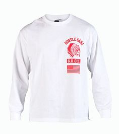HUSTLEGANG Long sleeve logo tee Crew neck with ribbed collar Screen print logo lettering on front Cotton for comfort