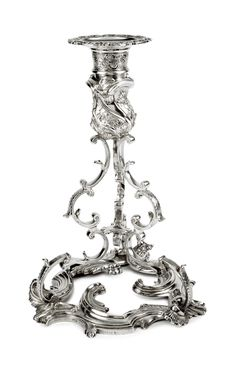 "A History of Ireland in 100 Objects – Rococo silver candlestick, - ""That it was in fact made in Dublin tells us something both about the extravagant taste of the Irish ruling class and about the city itself. Vintage Silver, Antique Silver, Chandeliers, Arte Judaica, Silver Candlesticks, Irish Art, Rococo Style, Tea Service, Baroque"