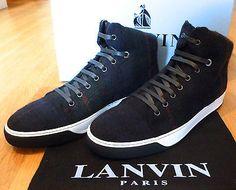 NEW $1,050 Lanvin Paris Scottish Wool Mid High Top Men's Sneaker 41 43 AUTHENTIC