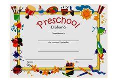 Diploma Certificate for Preschool FREE Printable 3 | OP Templates
