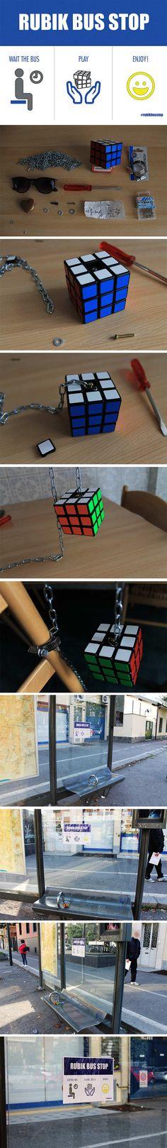 Bushaltestelle mit Rubik's Cube https://www.langweiledich.net/bushaltestelle-mit-rubiks-cube/