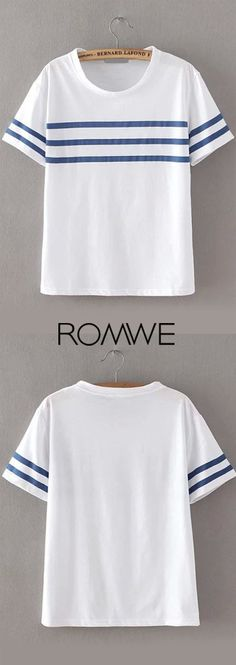 White blue stripe t-shirt at romwe.com. Only need $9.9. Super fashion & soft that you will not disappointed!
