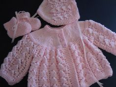 baby sweater and bootie sets | Hand Knitted Baby Girl Pink Sweater Bonnet Booties Set Newborn Reborn