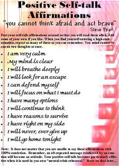 Positive Self-Talk Affirmations - self-defense word bank - I need to print this out. Good stuff.