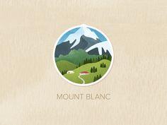 simplified landscape, badge, illustration, neutral contrast BG