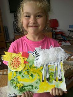 pro maminky ,učitelky,babičky ,pro všechny kdo tvoří jarní tvoření ...ovečka z vaty ,použity zapouštěcí barvičky a zlepšování jemné motoriky s nůžkami u dětí