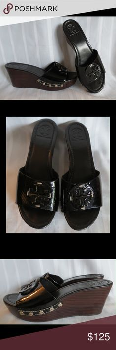 Tory Burch  Patent Silver Stud Sandals Wedge  8.5 Tory Burch Black Patent Silver Studded Sandals Wedges Size 8.5  These are fabulous Patti slides. In gently used condition.  All of my items are Guaranteed 100% Genuine I do not sell FAKES of any kind   No Trades (S09507) Tory Burch Shoes