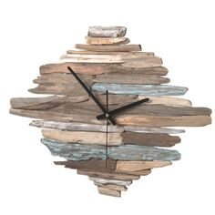 Rustic looking washed driftwood wall clock will keep you on time! Made of MDF and wood.