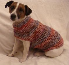 Crochet pattern for small dog coat. I like the fact that the dog's arms and legs are free (i.e. no arm sleeves).