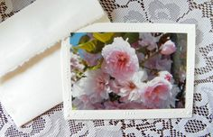 Greeting Card Handmade Pink Cherry Blossoms Blank by PamsFabPhotos