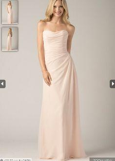 2015 Zipper Up White Floor Length Strapless Sleeveless Chiffon Bridesmaid / Prom Dresses By WTOO 803