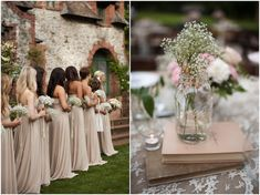nude bridesmaids dresses all in a row ~ so elegant!