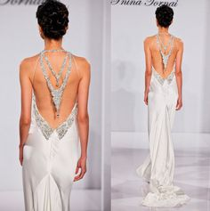 Beaded back wedding gown / PNINA TORNAI