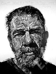 """Alan 49"" print by Neil Shigley, (1955-) http://neilshigley.com/ Tags: Linocut, Cut, Print, Linoleum, Lino, Carving, Block, Woodcut, Helen Elstone, Profile, Portrait, Face, Man, San Diego, Large-Scale Printing, The Invisible People Series."