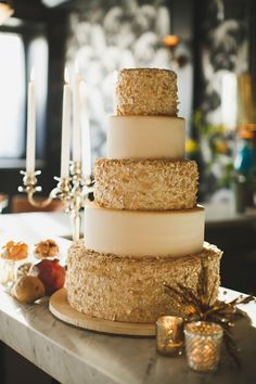 Modern Marie Antoinette Wedding Inspiration wedding cake with sparkle gold accents
