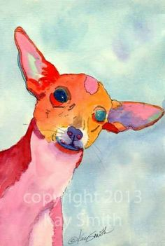 Crazy Pink Chihuahua, painting by artist Kay Smith