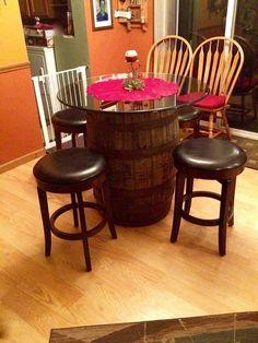 base de mesa hecha con un barril