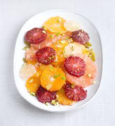 Citrus, Pistachio, and Mint Salad with Cinnamon Yogurt Dressing. [Dairy Free: use non-dairy yogurt | Gluten Free]