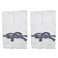 This Lowcountry Linens design is a thoughtful hostess gift or a lovely finishing touch for your upcoming party.  Product: Set of 2 towelsConstruction Material: Cotton and linen blendColor: Navy and whiteDimensions: 14 H x 22 W each