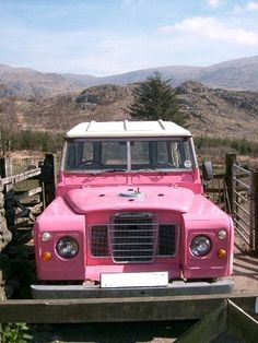 "Pink Land-Rover. ""Somebodies good idea gone bad."" WEH"