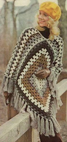 Memories! Quick Granny Square Poncho Retro 1970s - Purchased Crochet Pattern - (etsy)