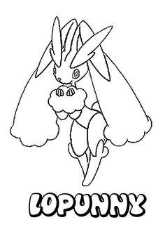 Lopunny Pokemon coloring page. More Pokemon coloring sheets on hellokids.com