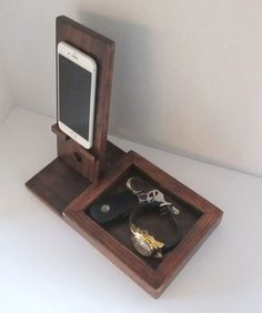 Iphone Dock with Valet Tray by ImproveResults on Etsy