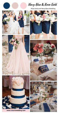 Blush Wedding Theme, Rose Gold Theme, Dream Wedding, Navy Blue And Gold Wedding, Wedding Navy, White Bridal, Lace Wedding, Wedding Flowers, Navy Blue Bridesmaid Dresses