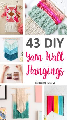 We've rounded-up 43 of the best woven wall hanging tutorials. So far, it'… We've rounded-up 43 of the best woven wall hanging tutorials. So far, it's the largest collection of the trendy, do-it-yourself projects that you'll find. Diy Home Crafts, Yarn Crafts, Arts And Crafts, Paper Crafts, Diy Tumblr, Mur Diy, Yarn Wall Hanging, Wall Hangings, Diy Hanging