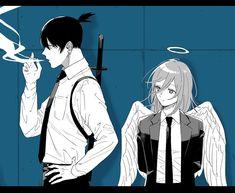 Anime Manga, Anime Art, Anime Lock Screen, Paranormal, Angel And Devil, Chainsaw, Chibi, Street Art, Sketches