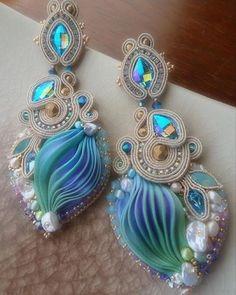 #nefertari #earrings #orecchini #soutache #shiborisilk #silk #seta #seda #soie #beadembroidery