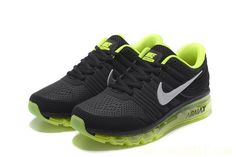 wholesale dealer cab44 28d5a Nike Air Max 2017 Men Black Fluorescent Green Top Running Shoes, Cheap Nike  Air Max