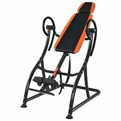 Deluxe Inversion Table Fitness Chiropractic Exercise Back Support Black Orange 1 of 1