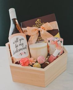 "Looking for a sweet way to ask your besties to be in your wedding? We are sharing how to create this ""Will You be my Bridesmaid"" box we… Asking Bridesmaids, Bridesmaids And Groomsmen, Ask Bridesmaids To Be In Wedding, Bridesmaid Gifts Will You Be My, Brides Maid Gifts, Bridesmaid Gift Boxes, Bridesmaid Proposal, Bridesmaid Baskets, Bridesmaid Wine Bottle"