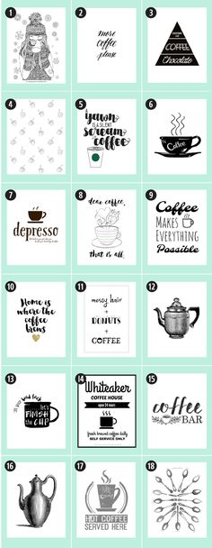180 Coffee Free Printables: The Ultimate Guide Little Gold Pixel Find the motherlode of curated coffee printables here. Etiquette Vintage, Coffee Bar Signs, Home Coffee Stations, Coffee Art, Coffee Theme, Coffee Logo, Coffee Barista, Starbucks Coffee, Coffee Quotes